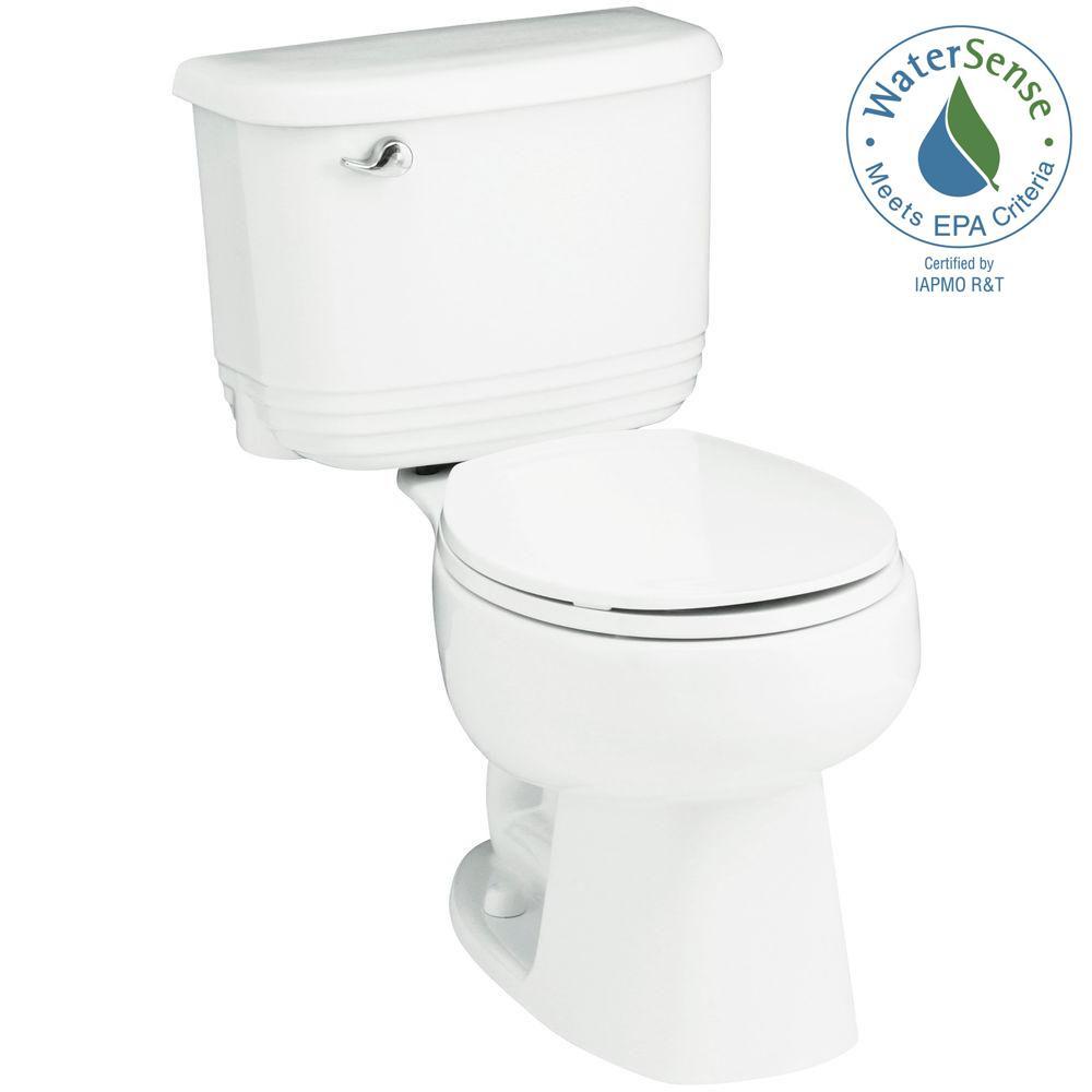 Riverton 2-piece 1.28 GPF Single Flush Round Toilet in White