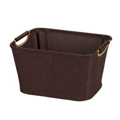 13 in. x 10 in. Coffee Linen Open Tapered Bin with Handles