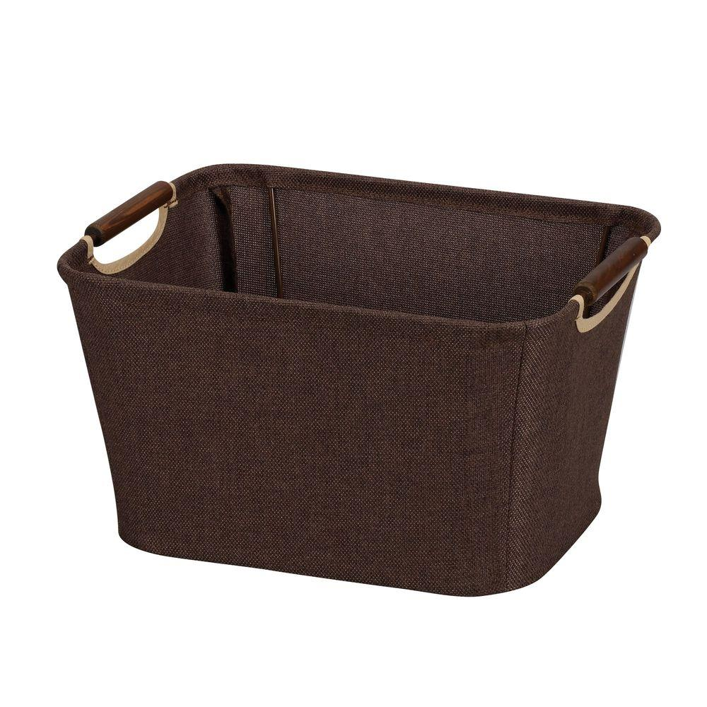 Household Essentials 13 in. x 10 in. Coffee Linen Open Tapered Bin with Handles