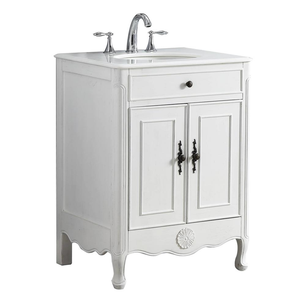 Modetti Provence 26 in. W x 21.75 in. D Vanity in White with a Marble Vanity Top in White with White Basin