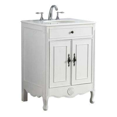 Provence 26 in. W x 21.75 in. D Vanity in White with a Marble Vanity Top in White with White Basin