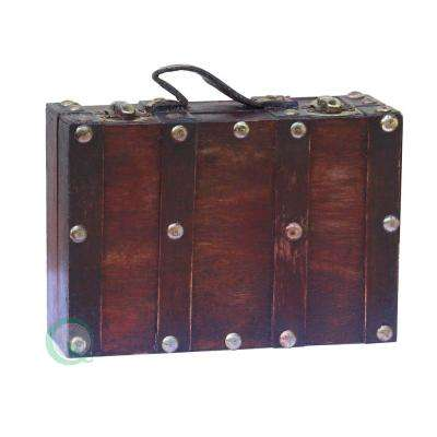 """6.5"""" x 4.3"""" x 2"""" Wood and Faux Leather Antique Style Small Mini Suitcase"""