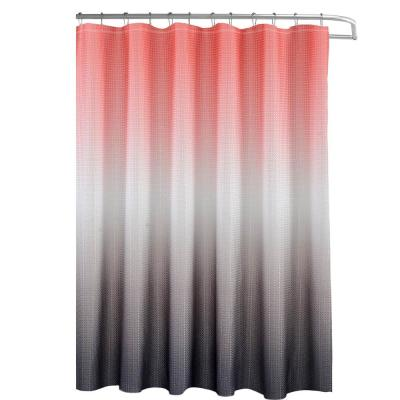 Ombre Waffle Weave 70 in. W x 72 in. L Shower Curtain with Beaded Rings in Coral/Grey