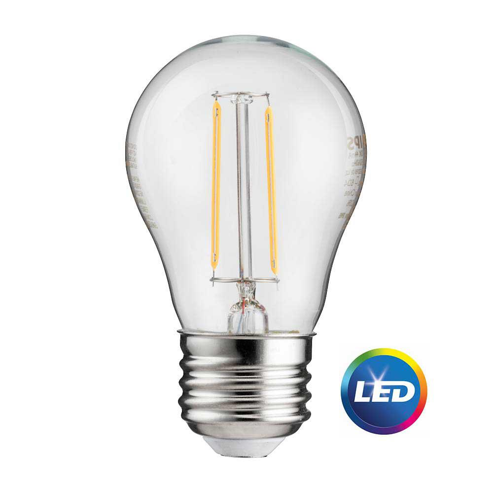 Philips 25-Watt Equivalent A15 Indoor/Outdoor Clear Glass Edison LED Light Bulb Amber Warm White (2200K) (2-Pack)