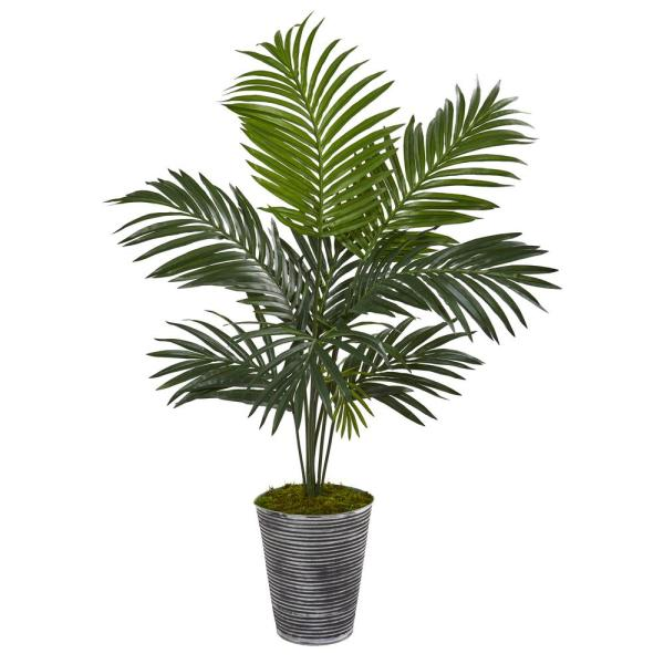 Nearly Natural 46 in. Kentia Artificial Palm Tree in Decorative Planter