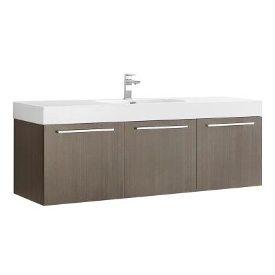 Vista 60 in. Modern Wall Hung Bath Vanity in Gray Oak with Vanity Top in White with White Basin