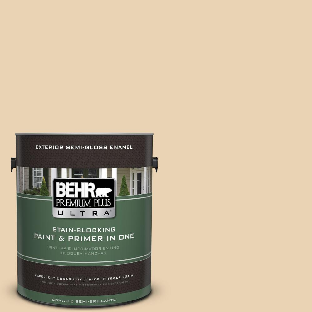 BEHR Premium Plus Ultra 1-gal. #S300-2 Powdered Gold Semi-Gloss Enamel Exterior Paint