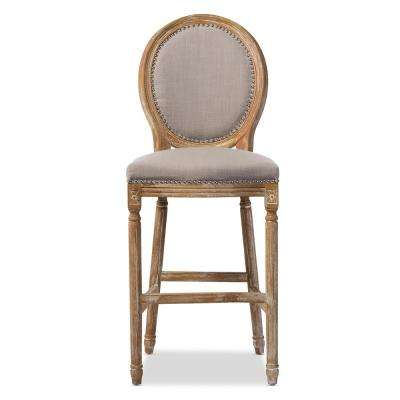 Louis Beige Fabric Upholstered Bar Stool