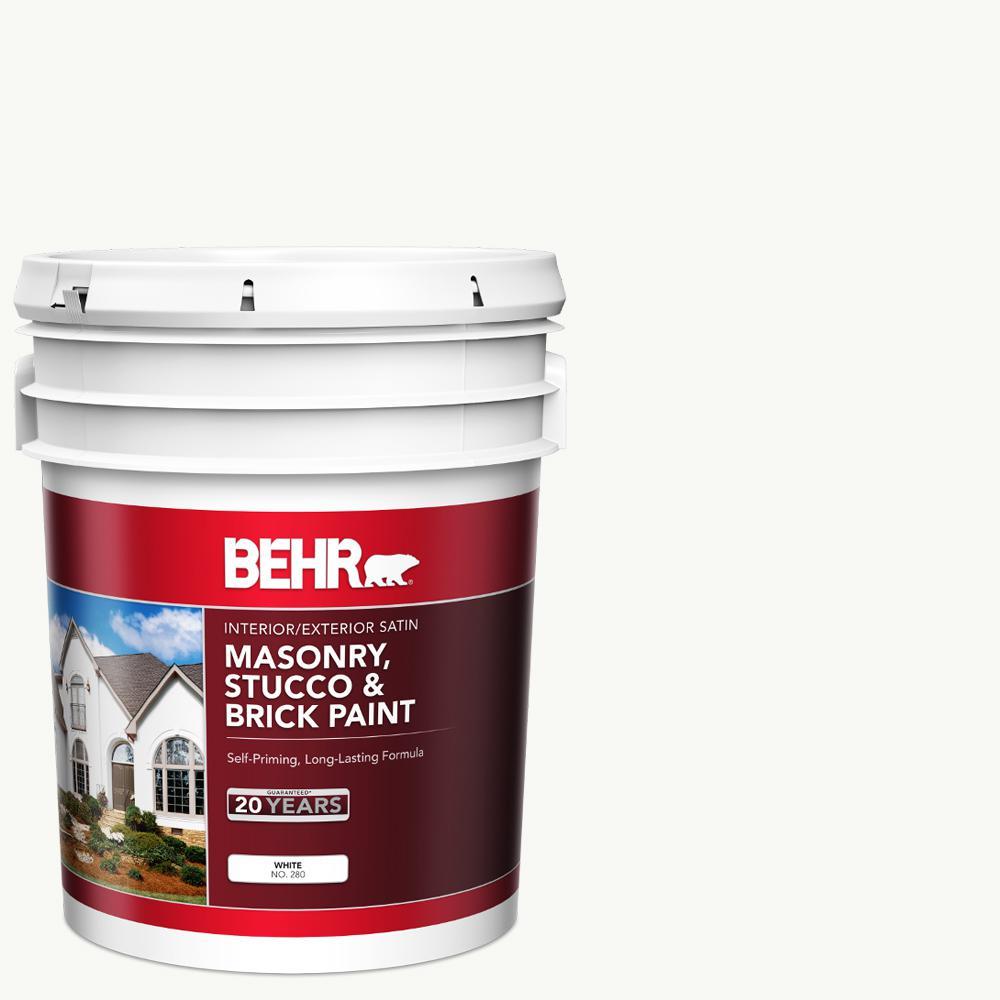 5 gal. White Satin Latex Masonry, Stucco and Brick Paint