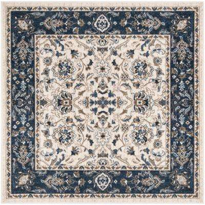 Carolina Cream/Dark Blue 5 ft. 1 in. x 5 ft. 1 in. Square Area Rug