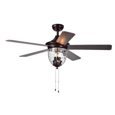 Josalie 52 in. Indoor Brown Ceiling Fan with Light Kit