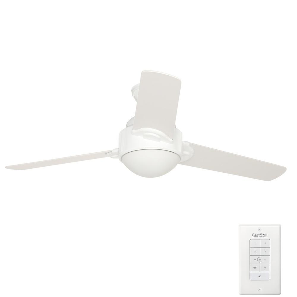 Trident 54 in. Indoor Snow White Ceiling Fan with Universal Wall