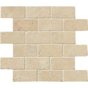 x 10 mm Travertine Mesh-Mounted Mosaic Tile Silver Travertine Split Face 12 in 1x2 Mosaic Chips x 12 in