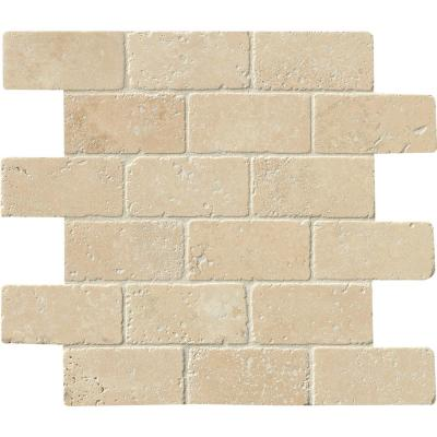 Durango 12 in. x 12 in. x 8mm Textured Travertine Mesh-Mounted Mosaic Tile (10 sq. ft./case)
