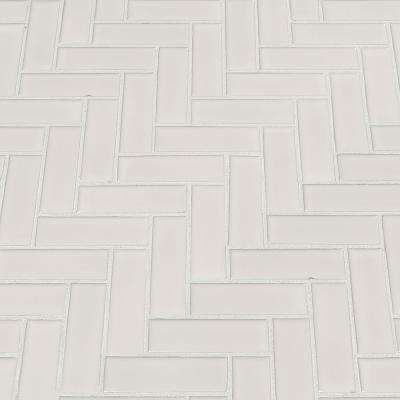 Retro Bianco Herringbone 12.2 in. x 10.83 in. x 6 mm Porcelain Mesh-Mounted Mosaic Tile (13.8 sq. ft. / case)
