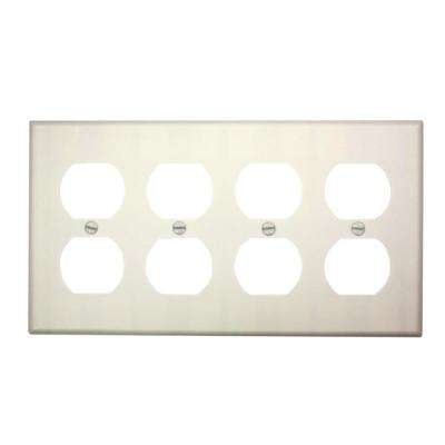 4-Gang Standard Size, 4-Duplex Receptacles and Plastic Wall Plate in White