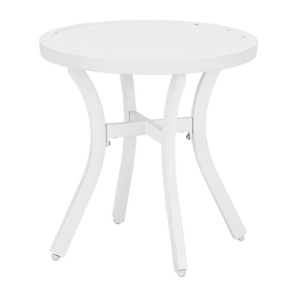 Mix and Match 18 in. White Round Metal Outdoor Patio Accent Table