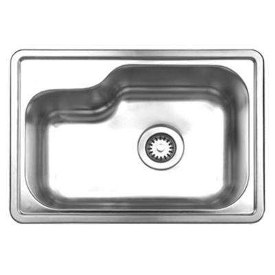 Noah's Collection Brushed Drop-In Stainless Steel 22.5 in. 0-Hole Single Bowl Kitchen Sink