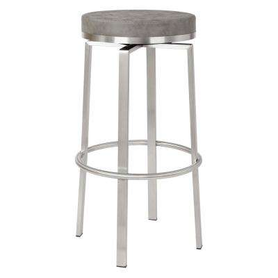 Katy 30 in. Counter Swivel Stool in Retro Taupe Fabric with Stainless Steel Base (2-Pack)