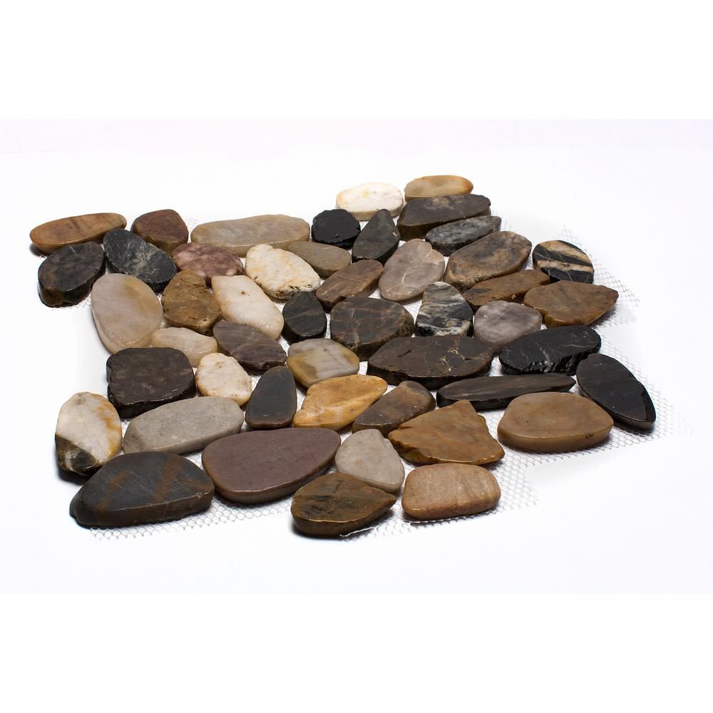 Rain Forest 12 In X Mixed Sliced High Polish Pebble Stone Floor And Wall Tile 5 0 Sq Ft Case