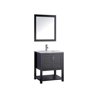 Norway 24 in. W x 22 in. D x 36 in. H Vanity in Espresso with Marble Vanity Top in White with White Basin and Mirror