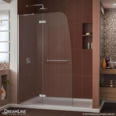 Aqua Ultra 34 in. x 60 in. x 74.75 in. Semi-Framed Hinged Shower Door in Chrome with Right Drain Acrylic Base