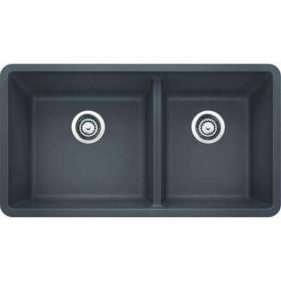 Precis Undermount Granite Composite 33 in. 1-3/4 Double Bowl Kitchen Sink in Cinder
