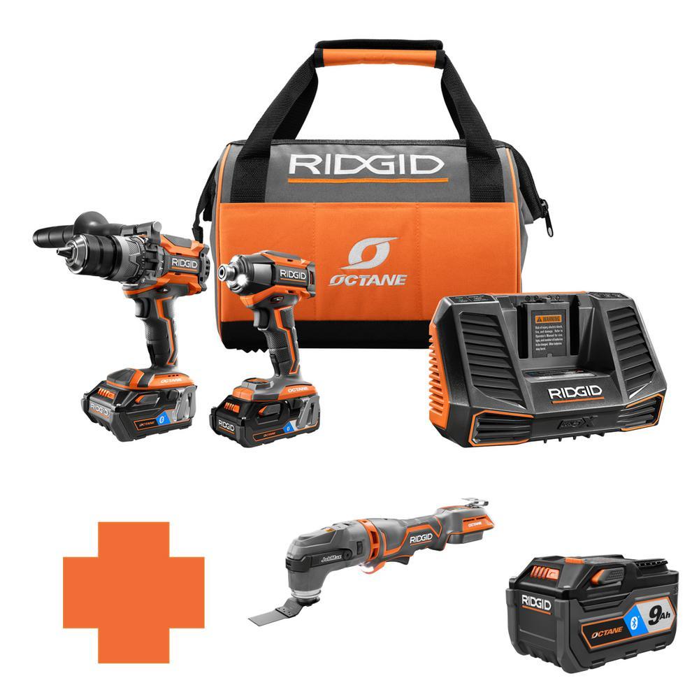 RIDGID 18-Volt OCTANE Lithium-Ion Cordless Brushless Combo Kit w/Bonus Brushless JobMax Multi-Tool & Bluetooth 9.0 Ah Battery