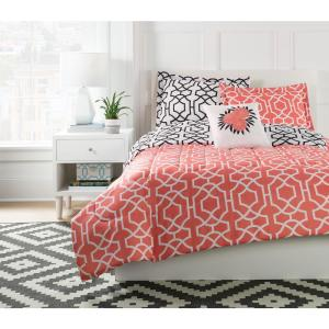 Anna GEO Coral Twin Microfiber Mini Comforter Set with Decorative Pillow by