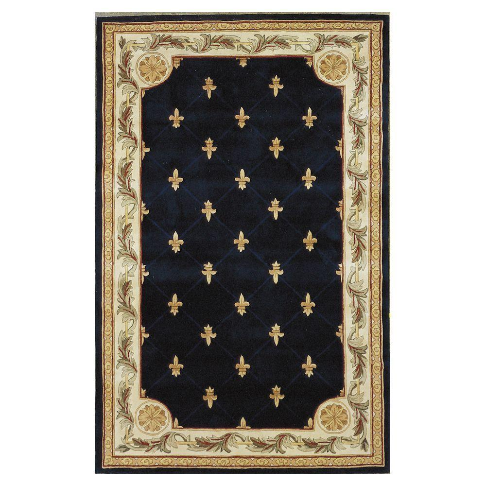 Kas Rugs Antique Fleur-De-Lis Navy 8 ft. 6 in. x 11 ft. 6 in. Area Rug