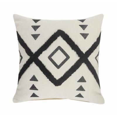 Diamond Black / Cream Tufted Geometric Soft Poly-fill 20 in. x 20 in. Throw Pillow