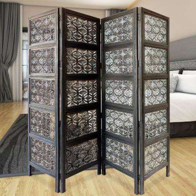 Four Panel Mango Wood 5 ft. 9 in. Black and White Room Divider with Traditional Carvings