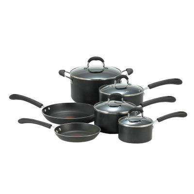 Professional 10-Piece Black Cookware Set with Lids
