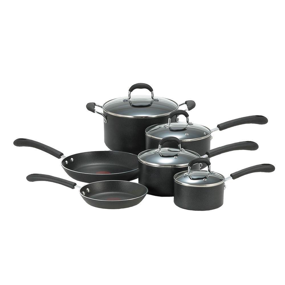 T-fal Professional 10-Piece Black Cookware Set with Lids