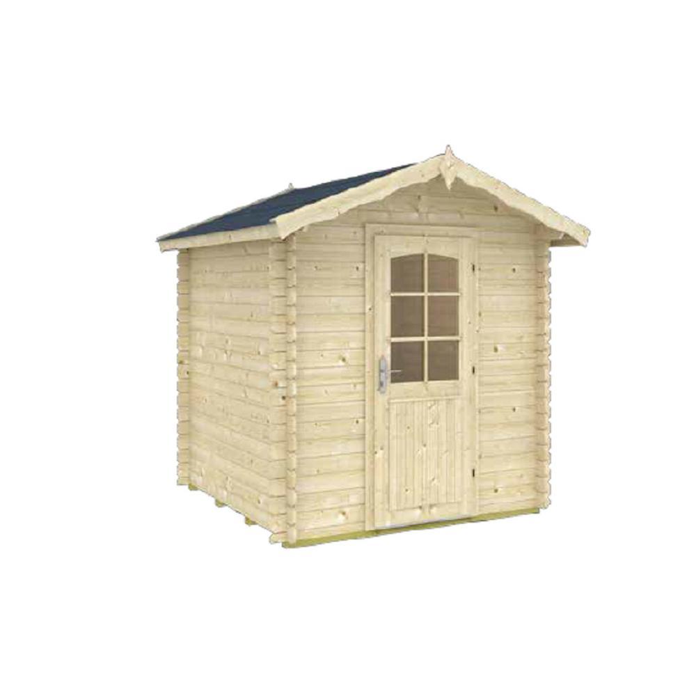 Tina A 7 ft. x 7 ft. x 8 ft. DIY Log Garden House Storage Building Kit