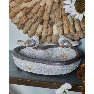 6 in. x 15 in. Distressed White Polystone Heart-Shaped Bird Feeder with Gray and Gold Accents