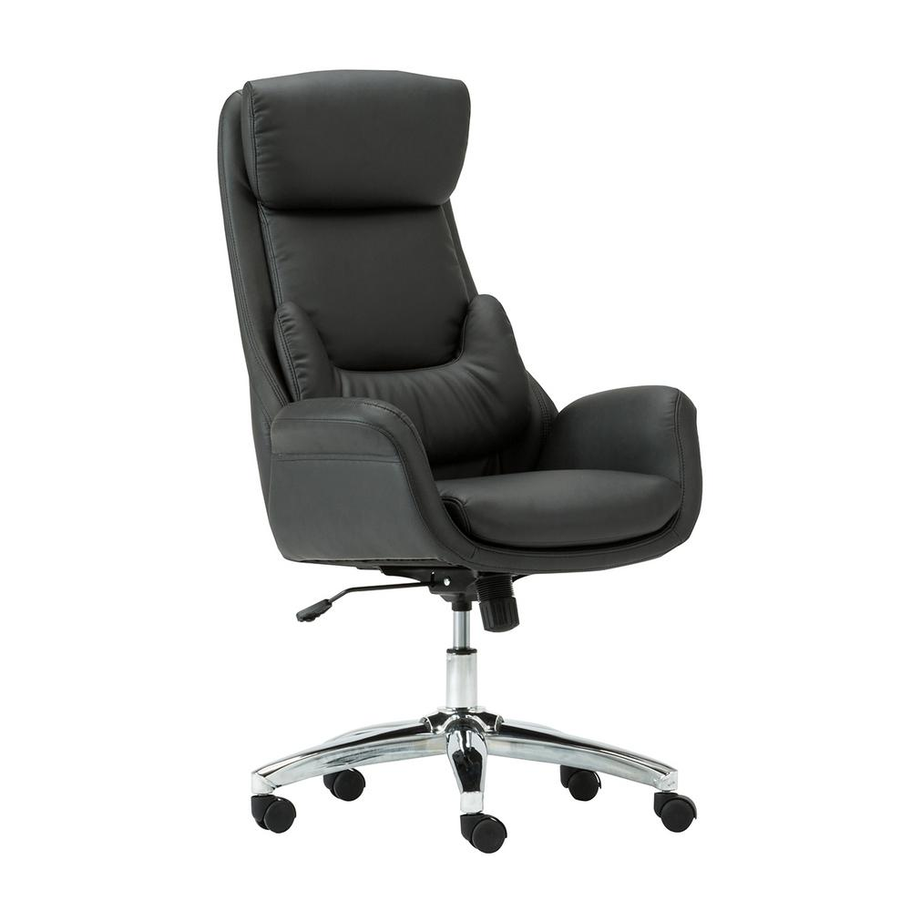 Techni Mobili Black Ergonomic Home Office Executive Chair with ...