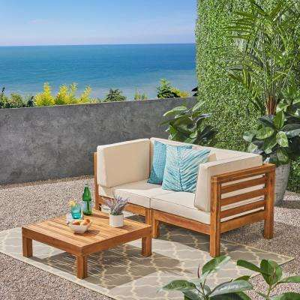 Jonah Teak 2-Piece Wood Patio Deep Seating Set with Beige Cushions - Loveseat, Coffee Table