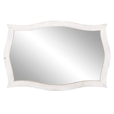 25 in. x 36 in. Whitewash Scallop Framed Wall Accent Mirror