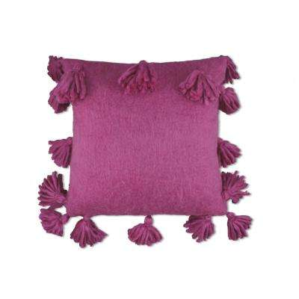 Wool Tassel Fuschia Pillow