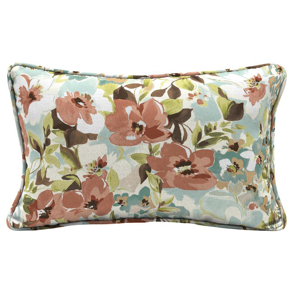 Russet Floral Rectangle Outdoor Lumbar Pillow (2-Pack)