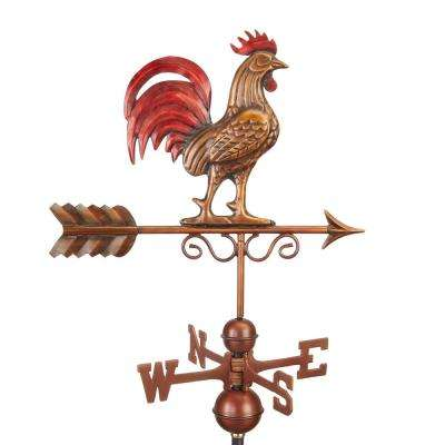 Bantam Red Rooster Weathervane - Pure Copper Hand Multi-Color Patina