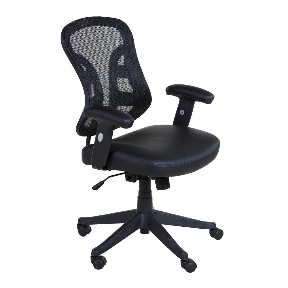 Onee Black Mid Back Mesh Executive Chair With Pu Leather Seat And 2 To