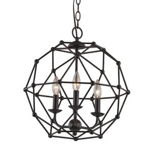 Avo 3-Light Rubbed Oil Bronze Pendant with Metal Globe Shade