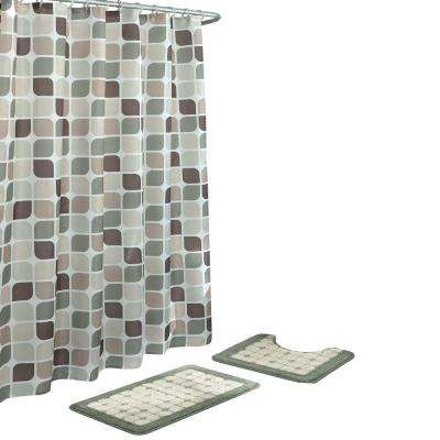 Zaragoza Sage/Berber 15-Piece Bath Rug and Shower Curtain Set