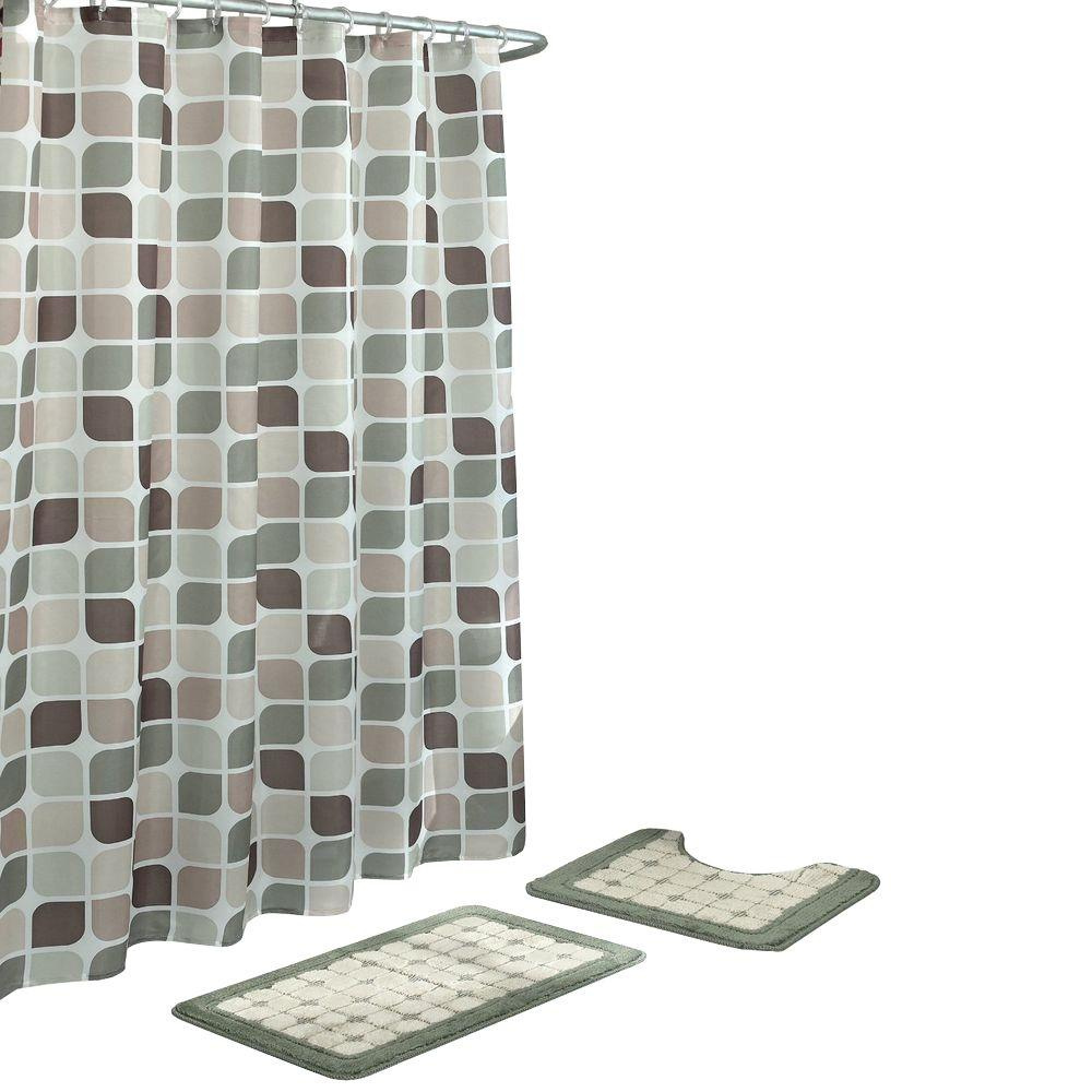 Bath Fusion Zaragoza Sage/Berber 15 Piece Bath Rug And Shower Curtain Set