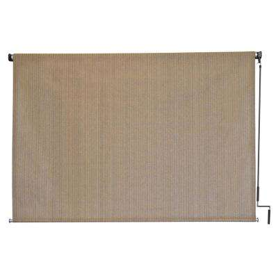 Seaside HDPE Fabric Cordless Crank Operated Exterior Roller Shade - 96 in. W x 72 in. L
