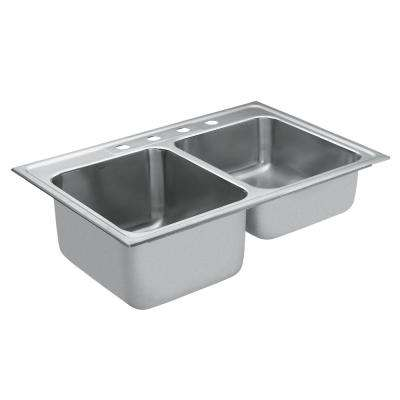 M-DURA Commercial Drop-In Stainless Steel 33 in. 4-Hole Double Basin Kitchen Sink Featuring QuickMount Hardware