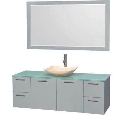 Amare 60 in. W x 22.25 in. D Vanity in Dove Gray with Glass Vanity Top in Green with Ivory Basin and 58 in. Mirror