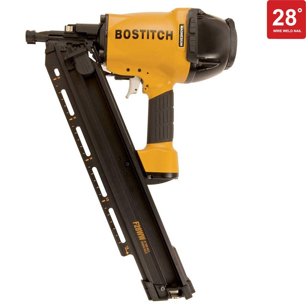 Bostitch 28-Degree 2 in. - 3-1/2 in. Wire Weld Framing Nailer-F28WW ...